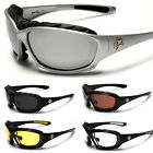 Choppers Men Biker Sunglasses Padded Motorcycle Goggles Black Yellow Mirror NEW