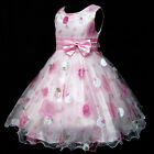 3 P3211 Kids Pink Floral Chiffon Wedding Party Flower Girls Dress SZ 3,4,5,6,7,8