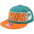 NFL Mitchell Ness Throwback Logo Retro Fit Wordmark Cap Hat TT48 Miami Dolphins