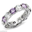 Clear & Amethyst CZ Eternity Band Silver  Stainless Steel Ladies Ring