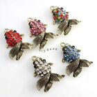 Colorful Rhinestones Fish Animal Antique Bronze Charms Alloy Pendants Findings