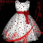 R3117 Red Girl Spot Christmas Party Bridesmaid Flower Girls Dress SZ 2T,4T,6T,8T