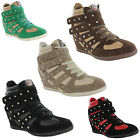New Ladies Hi Top Wedge Stars & Studs Velcro Ankle Boots Trainers Size UK 3-8