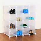 INTERLOCKING 16 PAIRS CUBE SHOE ORGANIZER RACK STORAGE DISPLAY STAND IN COLOURS