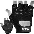 MRX WEIGHT LIFTING GLOVES CYCLING GLOVE GYM FITNESS TRAINING CROCHET MESH BLACK