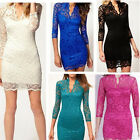 Multi Colour Women Sexy Lace Dress V-Neck 3/4 Sleeve Summer Clothing M-XXL