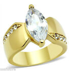 Ladies 4.5ct Marquise CZ Yellow Gold Plated Fashion Ring