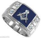 Four Stones Masonic Mason Blue Top Silver Stainless Steel Mens Ring