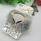 DIY Top rex rabbit plush Crystal luxury real fur Bling case for iphone 4 4s 5 5G