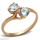 Ladies Double Stone CZ Rose Gold EP Fashion Ring