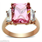 Ladies Square Pink Stone Rose Gold Plated Ring