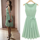 Womens Fashion Chiffon Pleated Mint Green Sleeveless Dress US Size 6 8 10 12