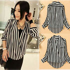 Hot ! Vertical Stripes Stand-up Collar + V Collar Pocket Chiffon Shirt WF-3872