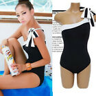 Womens Girls One shoulder One Piece Swimsuits Swimwear Black Swimming Suits