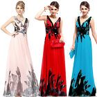 Hot Chiffon Print Womens Long Summer Beach Evening Formal Party Dress Gown 09641