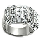 Seven Row Square Crystal Pave Silver Stainless Steel Unisex Ring