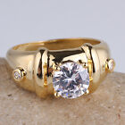 7mm Round Stone Yellow Gold Plated Men Ring Size Selectable Gift for Friend
