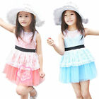 SZ 2-7 Years Girl Fashion Lovely Sleeveless Lace Belt Party Kid Dress Costume