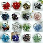 Women Fashion Jewelry Faceted Crystal Glass Beads Flower Adjustable Finger Ring