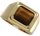 Square Cut Brown Tiger Eye 18kt Gold EP Solitaire Mens Ring New