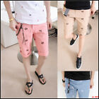 Mens Skull Head Embroideried Slim Casual Shorts Short Pants 4 colors