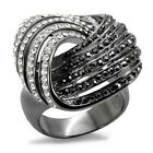 Ladies Five Row Clear & Black TIN Cobalt Black Gold Plated Le Glace Ring
