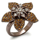 Ladies Multi Crystal Star Le Chocolate Gold Plated Flower Ring