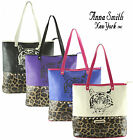 Ladies Anna Smith Designer Leopard Tote Shopper Studded Bag Satchel Handbag LYDC
