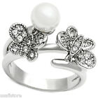 Double Butterfly With Pearl Silver Rhodium EP Ladies Ring