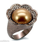 Ladies Brown Pearl Flower Le Chocolate Gold Plated Ring