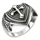 316L Stainless Steel Men's Dragon Wing Cross Shield Cast Ring Size 9-13