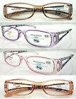 (R347) Plastic Jelly colour Frame Reading glasses with Flower design on arms