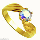 Aurora Borealis Rainbow Effect Stone Gold EP Ladies  Ring