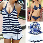New Sexy Ladies Navy Style Blue Stripe Push Up Bikini Swimwear Swimsuit 4 Pieces