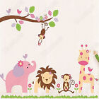 Jungle Animal Zoo Wall Stickers Nursery Childrens Bedroom Art Decals for Kids