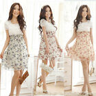 Women Chiffon Dress Summer Short Sleeve Mini Dress Floral Dress