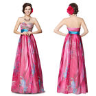 Floral Printed Sequins Strapless Empire Line Long Evening Prom Ball Dress 09820
