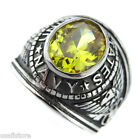 Mens US Navy Yellow Topaz Military Silver Stainless Steel Ring