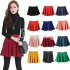 Candy Color Women's Stretch Waist Pleated Jersey Plain Skater Flared Mini Skirt