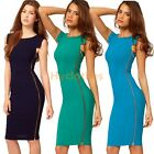 Formal ladies zipper Pencil Vintage Pinup Bodycon Celeb Fitted Party Dress D563