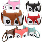 Fashion Retro Contrast Color Owl Fox Bag Messenger Pu Leather Crossbody Handbag