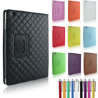 LUXURY LEATHER RHOMBUS CASE FOR iPAD 2/3/4 DIAMOND CUT COVER MAGNETIC