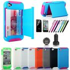 Credit Card Hard Shell Stand Combo Hybrid Case Cover For iPhone 4 4S (7 Color)