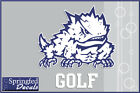 TCU Horned Frogs FROG w GOLF Vinyl Decal #1 Car Truck Sticker PICK A SIZE!