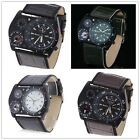 Military Men Sports Leather Analog Wrist Watch w/ Compass Thermometer Decoration