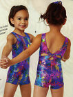 NWT Gymnastic Biketard Shorty Unitard w Scrunchie Blue Bubbles Foil Acro Lycra