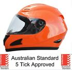 NEW SAFETY ORANGE FULL FACE MOTORCYCLE BIKE HELMET ADULT 5 tick approved BOAT