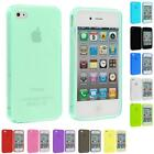 For iPhone 4S 4G 4 Accessory TPU Plain Color Rubber Jelly Skin Case Cover