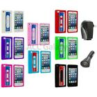 For iPhone 5 5G 5th Cassette Retro Silicone Tape Rubber Case Cover+2X Chargers