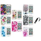 For iPhone 4 4S 4G Accessory TPU Design Flower Rubberized Case Cover+Stylus Plug